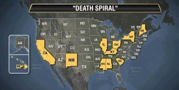 Death Spiral States FactCheckorg - Governors in us by state map party affiliation