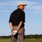 President Barack Obama looks down the fairway while golfing at Vineyard Golf Club near Lobsterville Beach during his vacation on Martha's Vineyard, Aug. 27, 2009. (Official White House Photo by Pete Souza)  This official White House photograph is being made available only for publication by news organizations and/or for personal use printing by the subject(s) of the photograph. The photograph may not be manipulated in any way and may not be used in commercial or political materials, advertisements, emails, products, or promotions that in any way suggests approval or endorsement of the President, the First Family, or the White House.