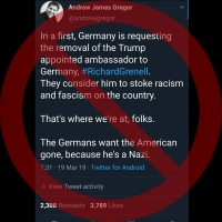 Germany Not Seeking Ambassador's Removal