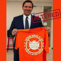 Posts Show Manipulated Image of T-Shirt Held by DeSantis