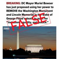 D.C. Mayor Did Not Propose Removal of Federal Monuments
