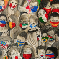Painting of Children in Masks Isn't a 1994 Airport Mural